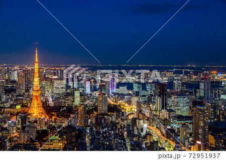 東京・都市風景・東京タワー 夜景 72951937