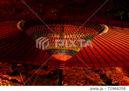 赤い和傘の複雑な中心構造とライトアップされる紅葉 72966206