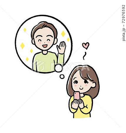 片想いをする女性のイラスト 72976592