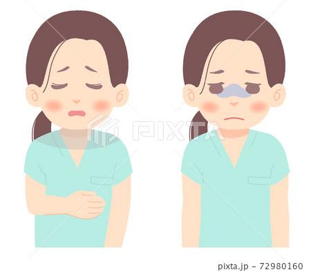 疲れ切った様子の医師、看護師のイラスト(タッチ やわらかめ) 72980160