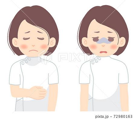 疲れ切った様子の看護師、医療技術者のイラスト(タッチ やわらかめ) 72980163