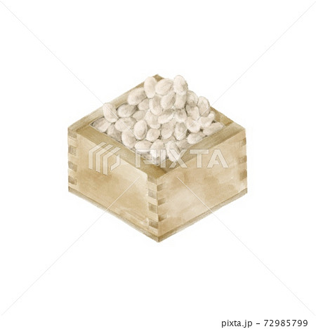 節分の福豆が入った枡 節分 水彩風イラスト 72985799