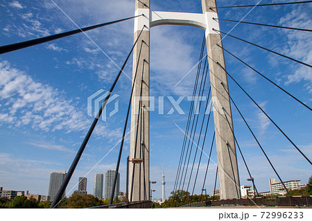 青空を背景にした木場公園大橋と東京スカイツリー 72996233
