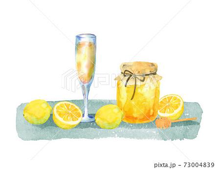 ハチミツとレモンとジュースのイラスト 73004839