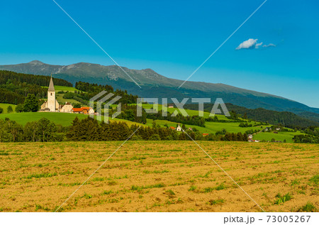 Typical Austrian landscape with a small village, green hills, Alps, and the blue sky 73005267