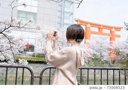 春の時期に京都東山で観光の途中、スマホで撮影している女性 73008523