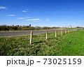 秋の朝の杭のある江戸川土手のサイクリング道路風景 73025159