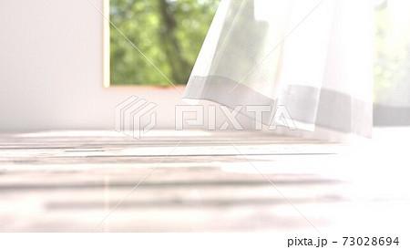 風でカーテンが揺らめく部屋の3Dイラスト 73028694