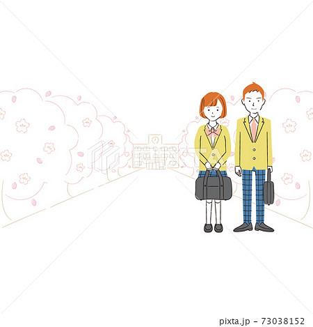 手書き線画カラーイラスト  制服の男女の学生が桜並木に立っている 73038152