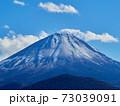 冬(12月)、わずかに雪が降った富士山と子抱き富士を精進湖から望む 山梨県富士河口湖町 73039091