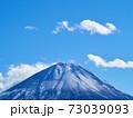 冬(12月)、わずかに雪が降った富士山を精進湖から望む 山梨県富士河口湖町 73039093