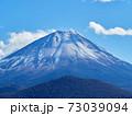 冬(12月)、わずかに雪が降った富士山と子抱き富士を精進湖から望む 山梨県富士河口湖町 73039094