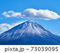 冬(12月)、わずかに雪が降った富士山を本栖湖から望む 山梨県身延町 73039095