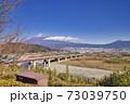 東名高速富士川SA下り線から見た富士山 冬 冠雪 73039750