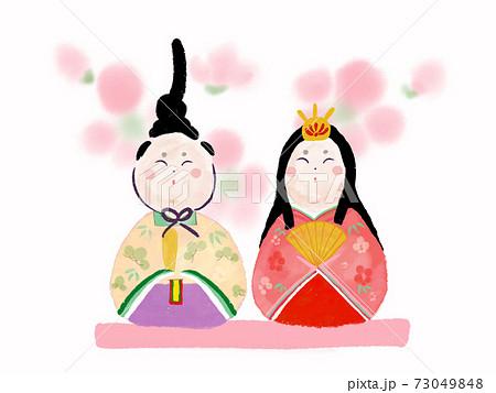 手描き水彩風 おひなさま 桃の花背景 73049848