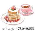 手描き水彩風 いちごのパンケーキと桜のティーカップに入った紅茶のイラスト 73049853