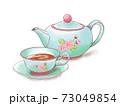 手描き水彩風 桜の模様のティーセットのイラスト 73049854