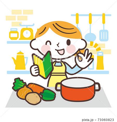 料理初心者の女性 73060823