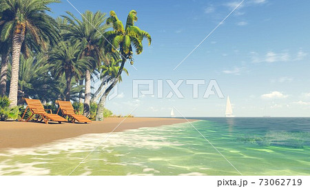 Deckchairs on tropical beach at sunny day 3D image 73062719