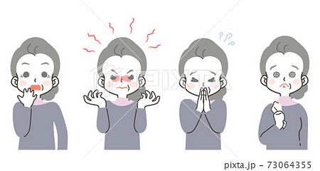 シニア女性の表情 セット - 驚き、怒り、お願い、ごめん、感動 73064355