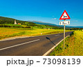 An Austrian rural landscape with an empty road between agricultural fields leading to the Alps 73098139
