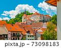 Picturesque cityscape of Skofja Loka, a small historic town in Slovenia 73098183