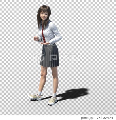 ポーズする女子高生 perming3DCGイラスト素材 73102474