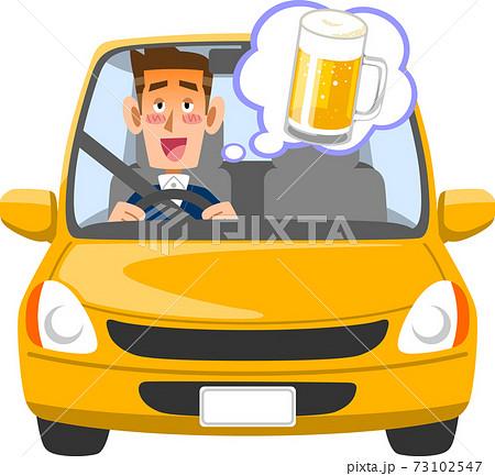 飲酒後に運転する男性ドライバー 73102547