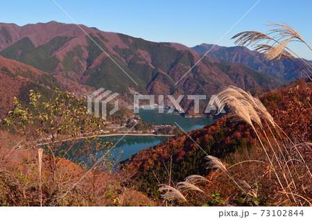 展望だから望む奥多摩湖と周辺の山々の紅葉 73102844