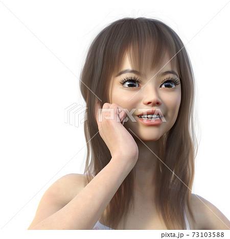 女性 アップ 表情 perming 3DCG イラスト素材 73103588