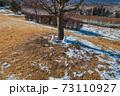 冬の日溜まりに溶けかけた雪ダルマ 73110927