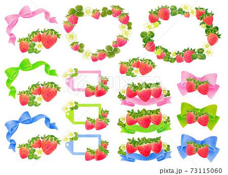 春の苺と3色リボンのフレームセット 73115060