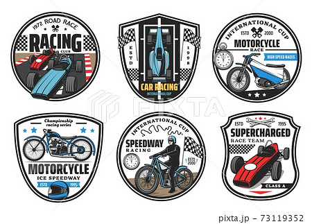 Racing sport icons, motocross speedway, cars races 73119352