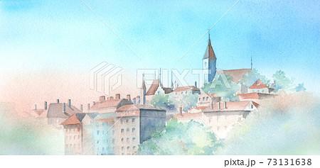 スイス トゥーン城 水彩画 73131638