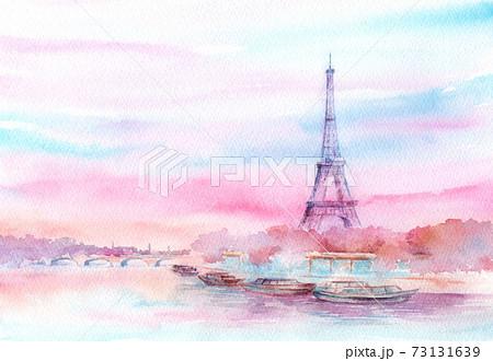エッフェル塔の風景 水彩画 73131639
