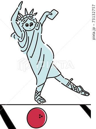 ボウリングをする自由の女神のイラスト 73132757
