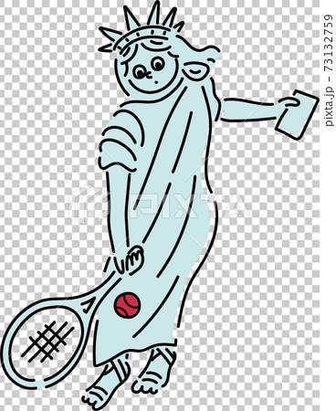 打網球的自由女神的插圖 73132759