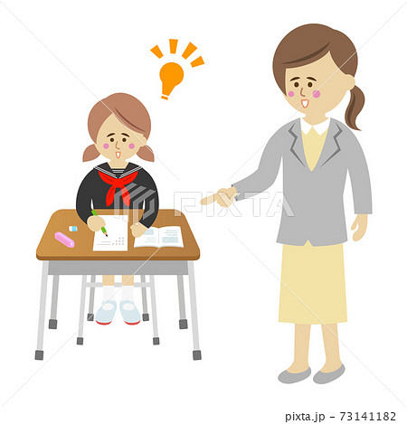 先生の指導で答えが閃いた女子生徒のイラストイメージ 73141182