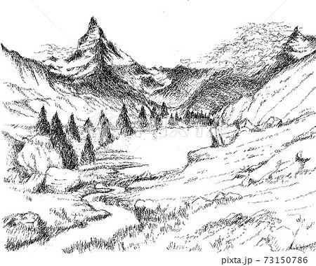 ペン画 グリンジ湖とマッターホルン 73150786