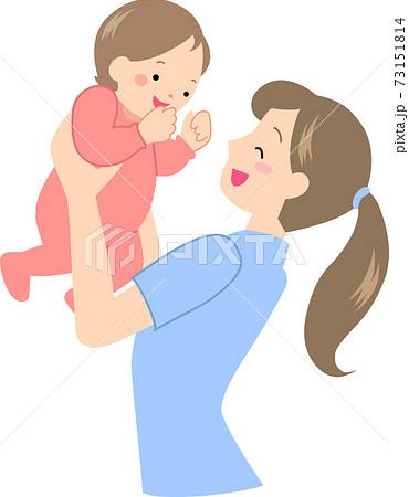 赤ちゃんを抱きあげる若いお母さん 73151814