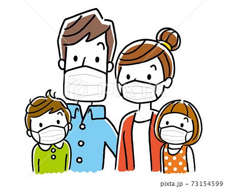 ベクターイラスト素材:家族、マスク 73154599