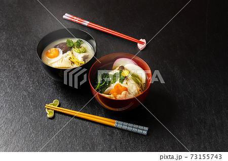 典型的なお雑煮 Ricecake boiled with vegetables(zouni)  73155743