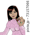 バレンタイン チョコレートを渡す女性のイラスト 73157066