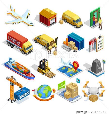 Logistics Isometric Icons Set 73158930