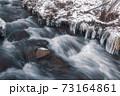 冬の清流と氷柱 73164861