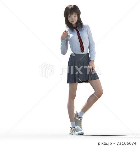 ポーズする女子高生 perming3DCGイラスト素材 73166074