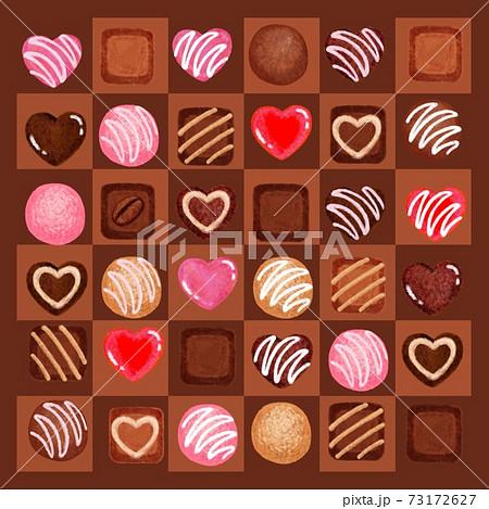 濃いチョコ枠マス目に並んだチョコ 73172627