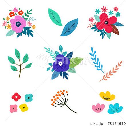 花と花束のイラストセット 春の植物による手描きテイスト 73174650