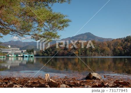 秋の京都、宝ヶ池から見える比叡山と国際会館 73177945