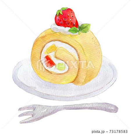 ロールケーキ 水彩イラスト 苺 73178583